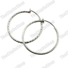 "1.5""medium CLIP ON HOOPS textured pattern silver WHITE GOLD PLATED hoop EARRINGS"
