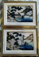 2 tableaux ancien Fixé Sous Verre photographie Geisha vintage japan art XIX eme