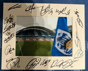Huddersfield Town Hand Signed 2021/22 10x8 Photo Mount Display,COA Signed By 15