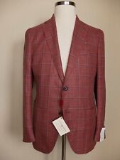 LUCIANO BARBERA wool silk linen mix plaid sportcoat jacket - Size 40 US / 50 EU