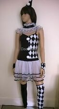 Clown Harlequin Black-white Fancy Dress Cosplay Costume Party Hen Night