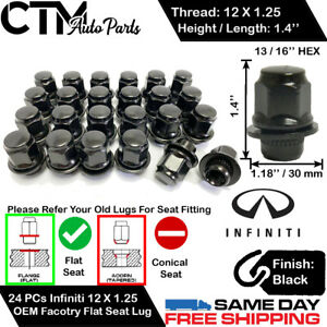 24PC INFINITI 1.4'' TALL BLACK 12X1.25 OEM FACTORY LUG NUTS FIT STOCK WHEEL