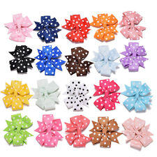 20 Pcs Bow Hair Clips Ribbon Printing Dot Headwear for Kids Hair Accessories N11