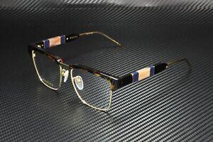 GUCCI GG0605O 002 Square Havana Gold Havana Demo Lens 52 mm Men's Eyeglasses