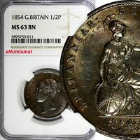 Great Britain Victoria Copper 1854 1/2 Penny NGC MS63 BN Nice Toned KM#726 (011)