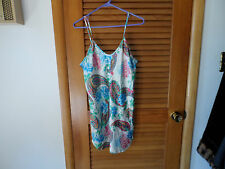 Ladies teal and pink floral chemise nightie size M