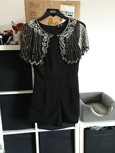 TFNC Size S Small Black Embellished Playsuit  (D11)