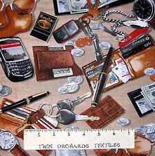 Man Cave Fabric - Men's Watch Wallet Keys Toss Tan - Benartex Kanvas YARD