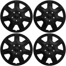 "4pc Hub Cap BLACK MATTE 17"" Inch for OEM Rim Wheel Replica Cover Covers Caps"