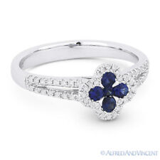 Pave 14k White Gold Right-Hand Flower Ring 0.50 ct Round Cut Sapphire & Diamond