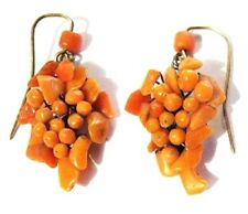 Antique 14K Gold Carved Coral Dangle Earrings Wired Grapes Cluster Victorian Vtg