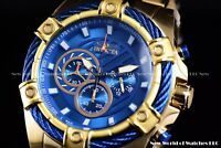 NEW Invicta 52mm Mens Bolt Quartz Chronograph 18K Gold IP Blue Dial SS Watch