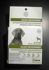 Bayer Quad Dewormer Large Dogs 45 lbs & Up 2 Tablets Exp. July 2021 or Better