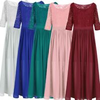 Women's Chiffon Lace Formal Bridesmaid Wedding Party Maxi Dress Prom Long Gown