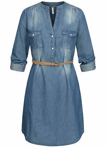 B20120450 Damen 77 Lifestyle Kleid Turn-Up Denim Dress 2-Pockets Gürtel blau