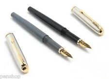 2 X Eyedropper Fountain Pen Stainless Steel Cap Golden Arrow Clip - Black & Grey
