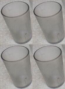 (4) Restaurant 4 oz Clear Textured Break-Resistant Plastic Juice Soda Tumbulars