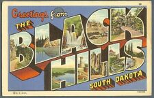 Black Hills SD South Dakota ~ large letter linen postcard ~ Curt Teich 1937