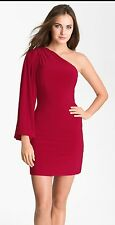 Dalia Macphee One Shoulder / Sleeve Dress Red 8 NEW!