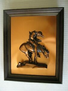 """COPPER PICTURE, RENDITION OF """"END OF THE TRAIL"""", 16""""X13.5"""", EXCELLENT CONDITION."""