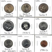 NINE VARIOUS UNCIRCULATED U.S. COINS - NICE MIX - INCLUDES ONE PROOF QUARTER