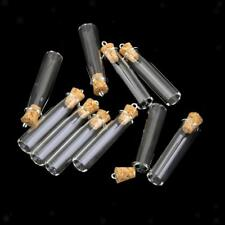 10 Mini Cork Stopper Tube Glass Vial Jars Charm Memory Wish Necklace Pendant