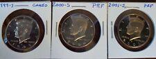 SET OF 3 PROOF KENNEDY HALF DOLLARS 1999 - 2000 - 2001 S