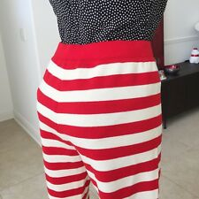 GIANNI VERSACE COUTURE nautical red stripe wool high waisted leggings size 44