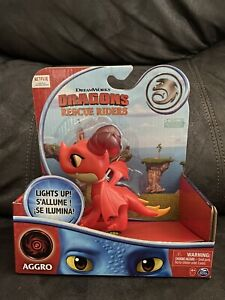 """NETFLIX SHOW Dragons Rescue Riders AGGRO RED HORNED LIGHT UP 6"""" Dragon NEW"""