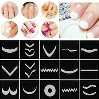 18sheet French Manicure Nail Art Tips Form Guide Sticker Polish DIY Stencil Tool
