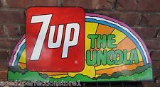 Orig 1971 7up The Uncola Rainbow Flange Soda Advertising Sign Stout Sign Co