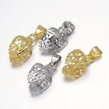 100pcs Colorful Filigree Leaf Rack Plating Brass Pendant Pinch Bails 18x8x10mm