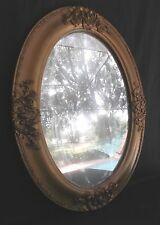 Antique Oval Bubble/Domed/Convex Glass W/ 24x18 Carved Wood Frame Wall Mirror