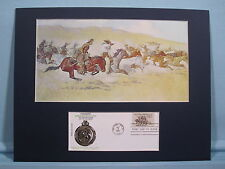 """""""Fight for the Stolen Herd"""" painted by Frederic Remington  & First Day Cover"""
