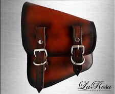 La Rosa Antique Dark Shedron Leather Harley Softail Rigid Left Solo Saddle Bag