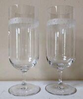 Wedgwood VERA LACE Iced Beverage Tea Glasses 2 Filigree Vera Wang EXCELLENT!!!!