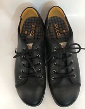 ECCO WOMEN'S BLACK LEATHER CASUAL LACE UP SNEAKER SHOES - SIZE US 10-10.5/EU 41