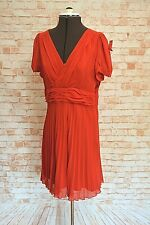 A918REVIEW JESSIE RED PLEATED DRESS SIZE 14 NEW