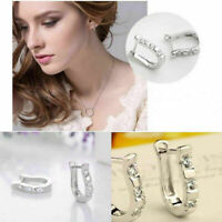Horseshoe Horse Hoof CZ Crystal 925 Silver Stud Hoop Earrings Jewelry Gift
