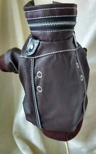 FAUX LEATHER DOG COAT JACKET XS SMALL DOGS Brown Toy Breeds
