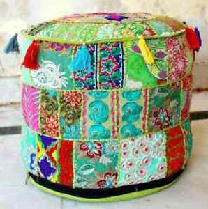 """NEW INDIAN GREEN OTTOMAN POUF COVER 18X18"""" VINTAGE HANDMADE PATCHWORK FOOTSTOOL"""