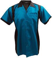 Rockabilly Fashions Men's Shirt Retro Vintage Bowling 1950 1960 Blue Black M-3XL