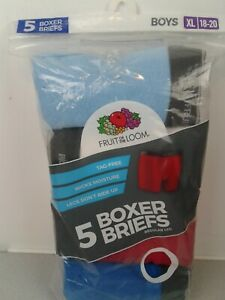 Boys Fruit of The Loom tag free 5 pack solid color boxer briefs size XL (18-20)