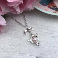 "Teapot NECKLACE Silver & PINK Pearl Alice in WONDERLAND Bow Tea LOVER 16"" 18"""