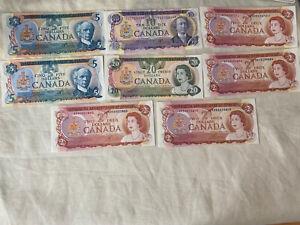 Canada Dollar Bills Crisp- UNC GEM  Lot Of 8 1974-1979 VG Collectable