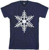 Threadrock Men's White Snowflake T-shirt Winter Christmas Snowman