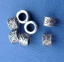 4x Metall Beads Inka Schmuck Silber Bastelbedarf Dreadperlen Gr.Loch Perlen Neu