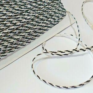 10 metres black/white twist flat craft sewing braid trim 6mm wide