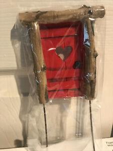 FAIRY GARDEN ~ Mini Rustic Helena Door Pick Red w/ Heart
