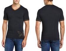 Cotton V Neck Patternless Stretch T-Shirts for Men